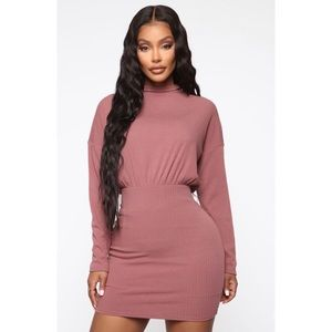 Fashion Nova Cocoa Ribbed Mini Dress NWT Large